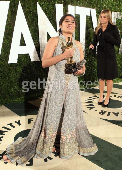 Sharmeen in a custom made Sana Safinaz design at the Vanity Fair Oscars after-party 2
