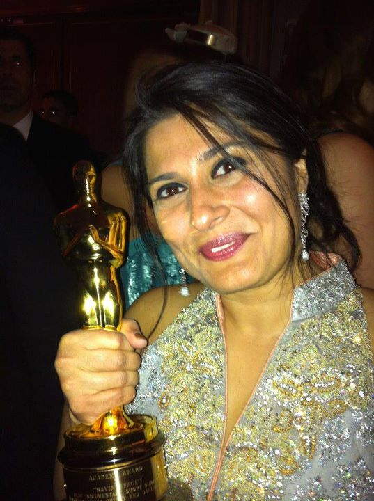 Sharmeen in a custom made Sana Safinaz design at the Vanity Fair Oscars after-party